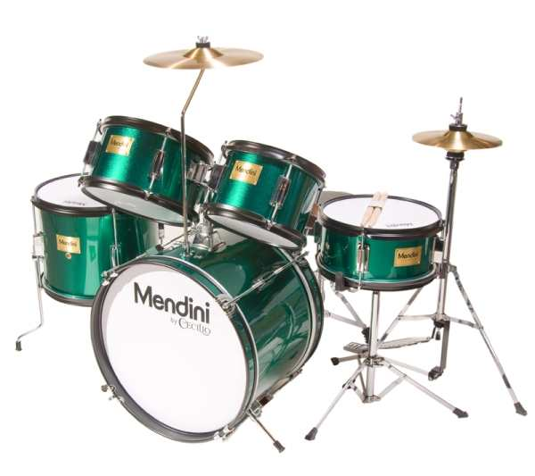 Mendini By Cecilio Drum Set - Junior - 16-inch 5-Piece Metallic Green