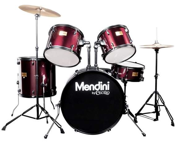 Image of the Mendini Adult Drum Set in Wine Red Color