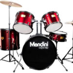 Mendini Drum Set Reviews - Image of the Mendini by Cecilio 22-inch 5-Piece Metallic Bright Red Adult Drum Set